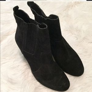 BCBG black suede wedge booties